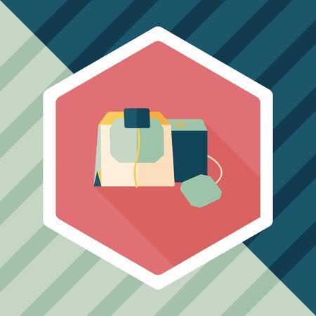 coffee bag: coffee bag flat icon with long shadow