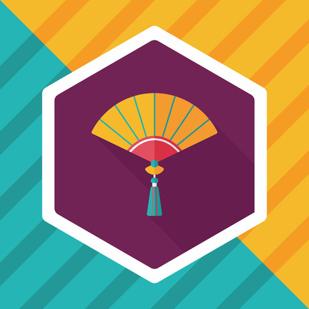 folding: Chinese New Year flat icon with long shadow,  Chinese folding fan means  win speedy success.