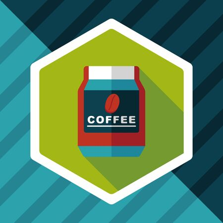 food storage: glass canned coffee flat icon with long shadow