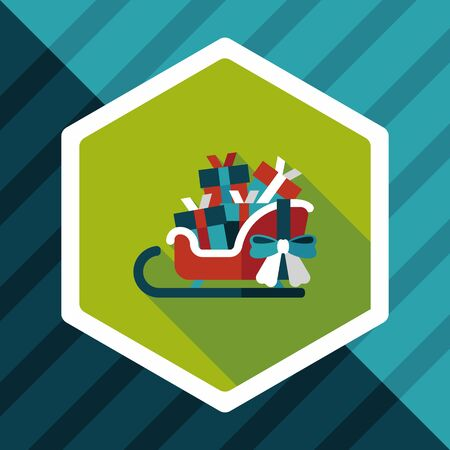 gift basket: Christmas sleigh gift basket flat icon with long shadow