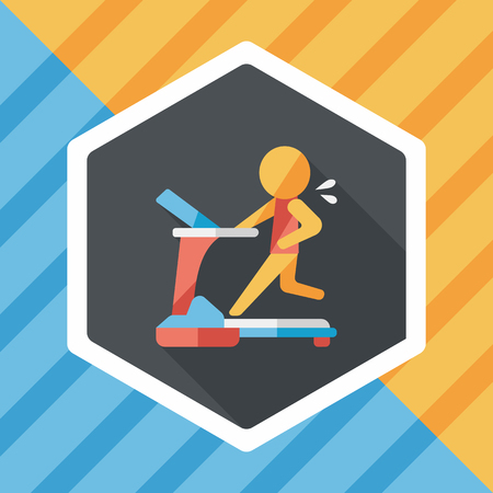 gym room: treadmill flat icon with long shadow