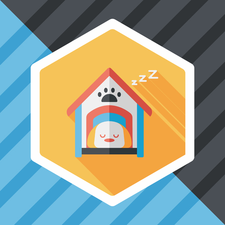 cottage fence: Pet dog house flat icon with long shadow Illustration