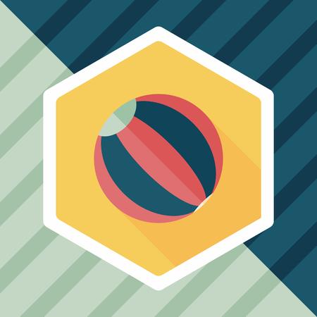 beachball: Beach ball flat icon with long shadow Illustration