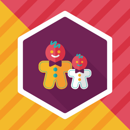 Gingerbread man flat icon with long shadow Illustration