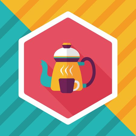 coffee kettle and cup flat icon with long shadow Vektorové ilustrace