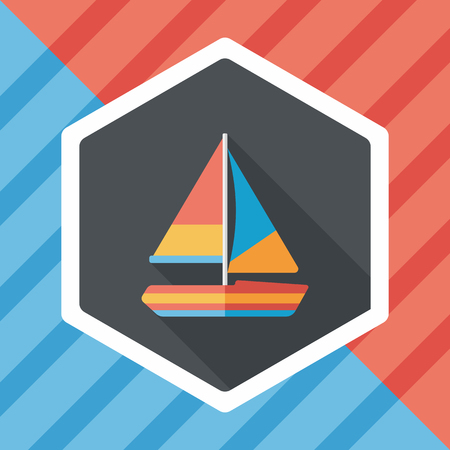 Transportation sailboat flat icon with long shadow