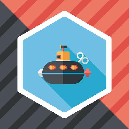 sub: Submarine flat icon with long shadow Illustration