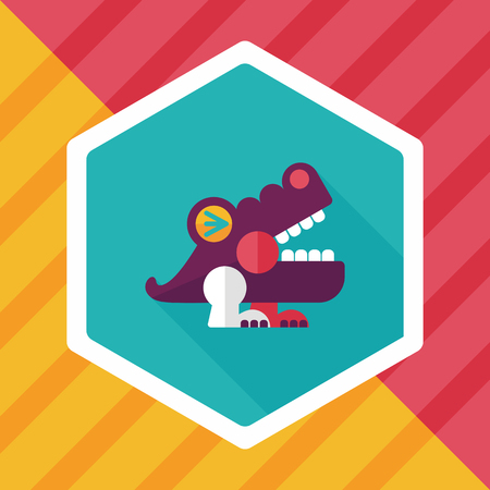 wrath: crocodile toy flat icon with long shadow