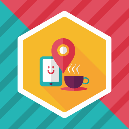 lliquid: coffee flat icon with long shadow,  When you go to coffee shop, you can check into places and click the like button on social network.