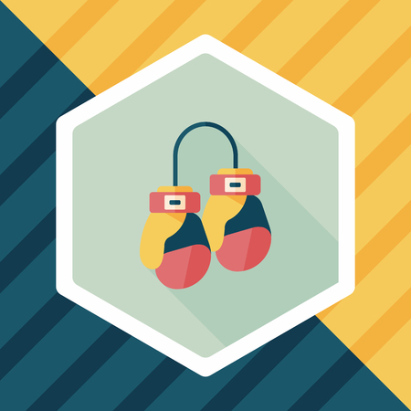 defending: boxing gloves flat icon with long shadow Illustration