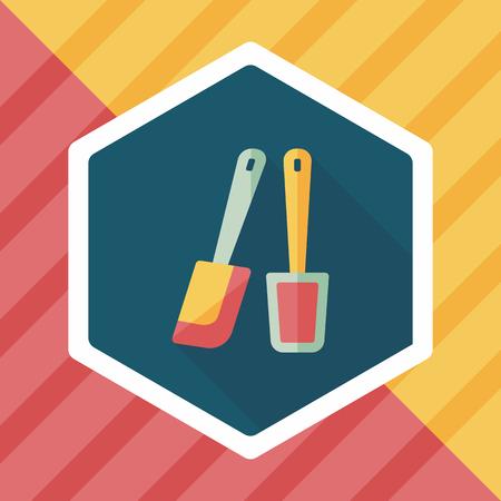 beater: icono plana batidor de cocina con una larga sombra