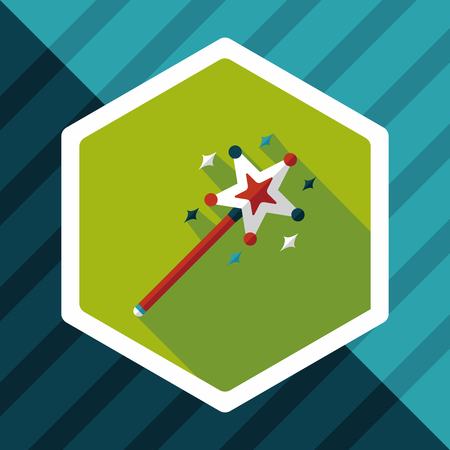 prop: magic wand flat icon with long shadow