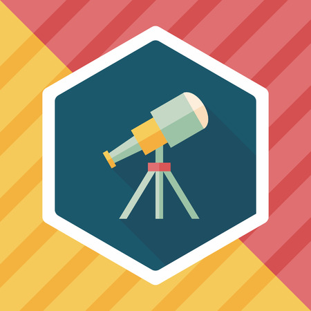 ocular: Telescope flat icon with long shadow Illustration