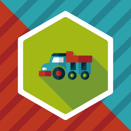 dump truck: Dump truck flat icon with long shadow