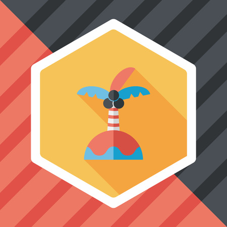 frond: Palm tree flat icon with long shadow