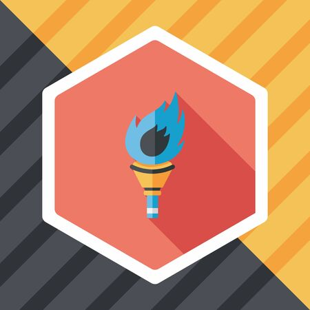 flaming: flaming torch flat icon with long shadow