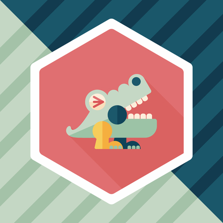 caiman: crocodile toy flat icon with long shadow