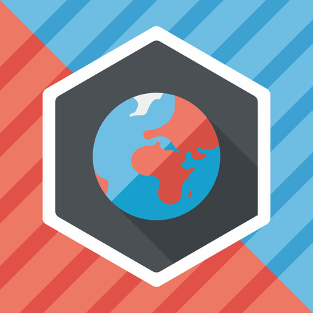 mainland: Space earth flat icon with long shadow,eps10
