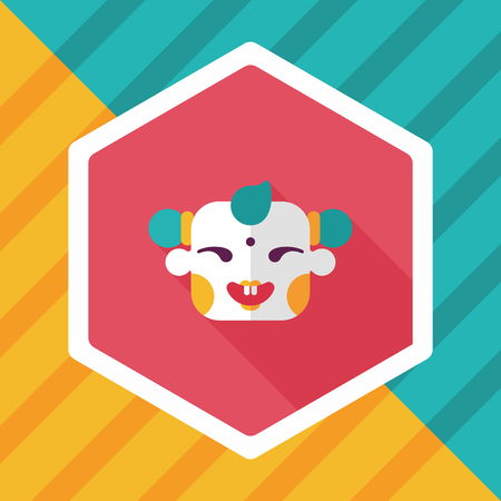 laughing: Chinese New Year flat icon with long shadow,eps10, Maitreya doll decoration means Bless you have wealth, monasticism and popularity.