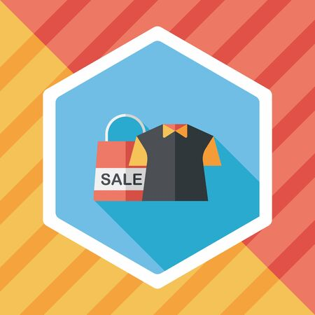 wholesale: shopping clothes flat icon with long shadow,eps10 Illustration