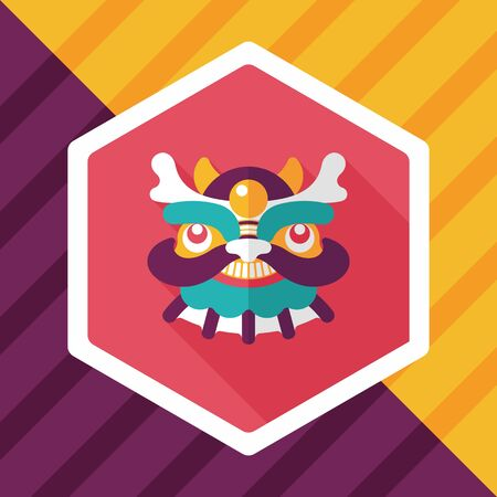 dancing dragon: Chinese New Year flat icon with long shadow,eps10,The dragon and lion dancing head
