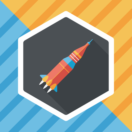 satellite launch: Space rocket flat icon with long shadow,eps10