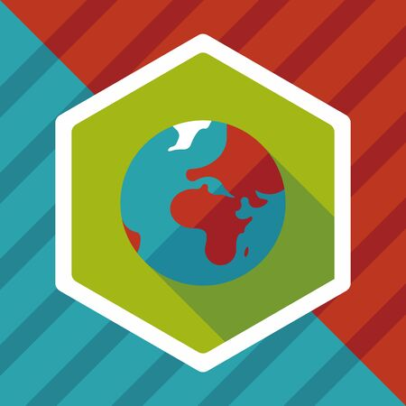 earth from space: Space earth flat icon with long shadow,eps10