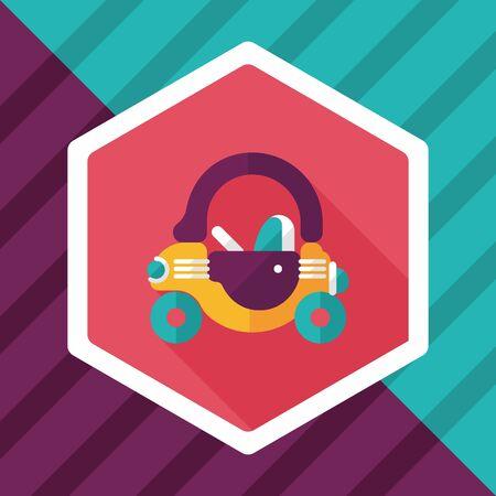 walker: toy car walker flat icon with long shadow