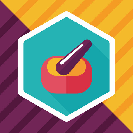 mortar and pestle: mortar and pestle Flat style Icon with long shadows