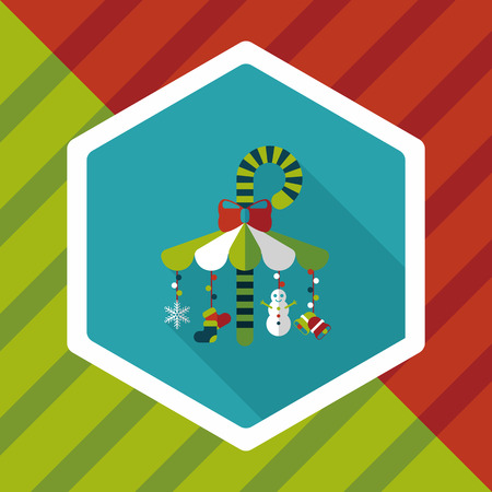 gravitational: Decorative candy cane flat icon with long shadow eps10