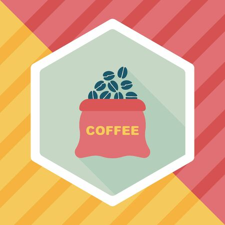 coffee crop: coffee bean flat icon with long shadow,eps10