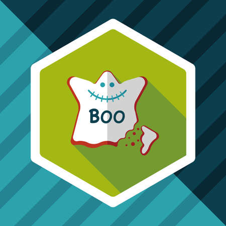 homemade bread: Halloween cookies flat icon with long shadow,eps10 Illustration