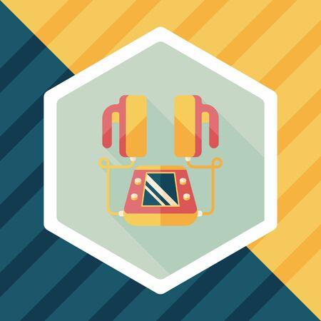 defibrillator: Heart Defibrillator flat icon with long shadow
