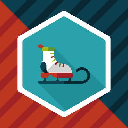 new year s santa claus: Santas sleigh flat icon with long shadow eps10