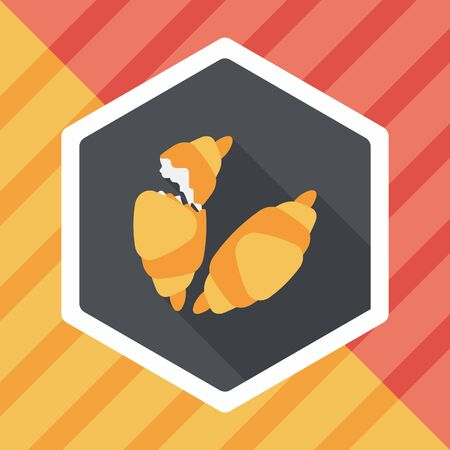 buttered: croissants flat icon with long shadow,eps10 Illustration