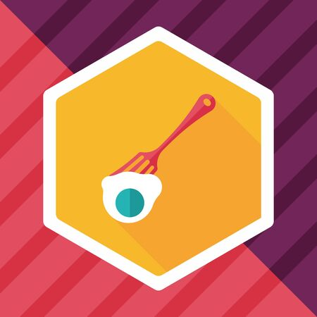 dine: kitchenware fork and egg flat icon with long shadow,eps10 Illustration