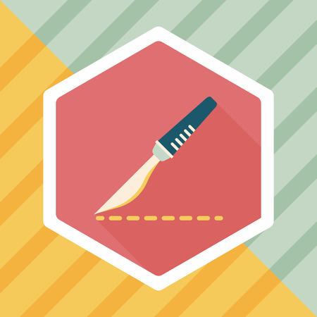 Scalpel cut flat icon with long shadow Illustration