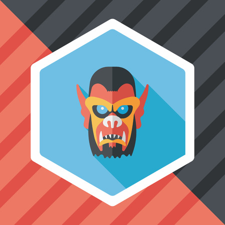 terrify: Halloween devil flat icon with long shadow,eps10