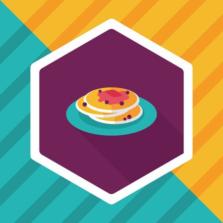 pancake flat icon with long shadow,eps10