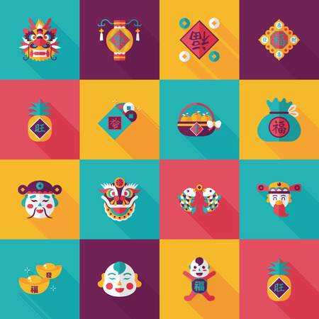 Chinese new year icons set
