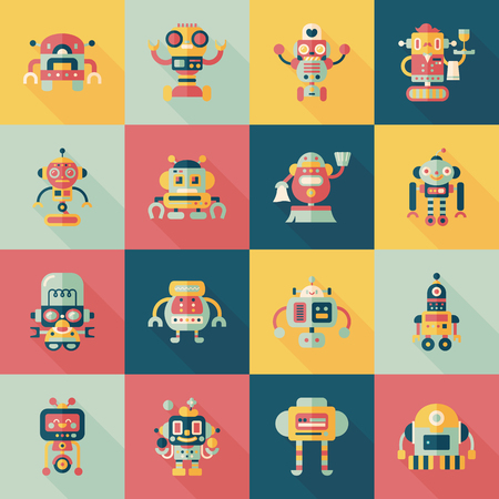 artificial: robot and artificial intelligence icons set