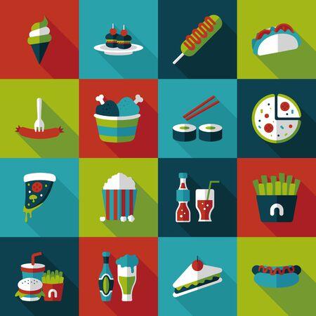 Fastfood and drinks icon set Ilustração Vetorial