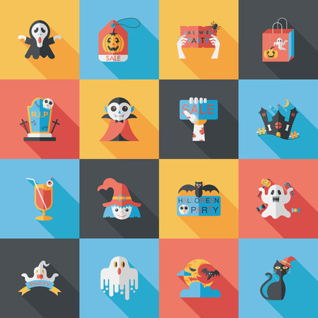 halloween party: Happy halloween party icons set
