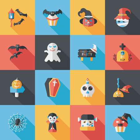 gentrification: Happy halloween party icons set