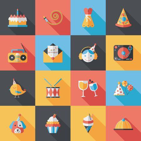 gentrification: Celebration and birthday icons set Illustration