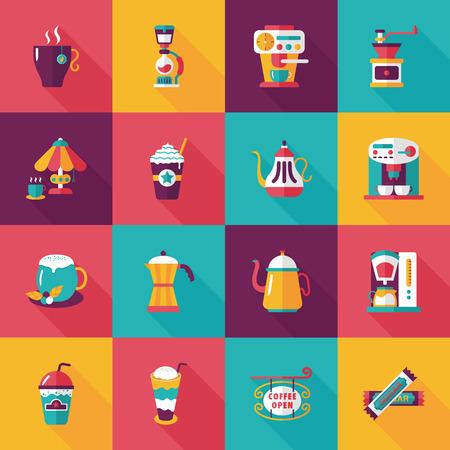 fresh brewed: Coffee and tea icon set Illustration