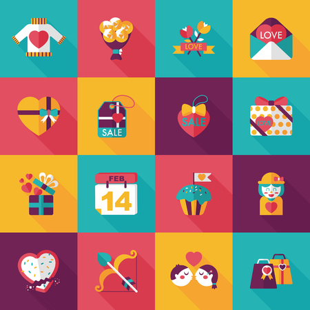 kiss biscuits: Valentines day icons set Illustration