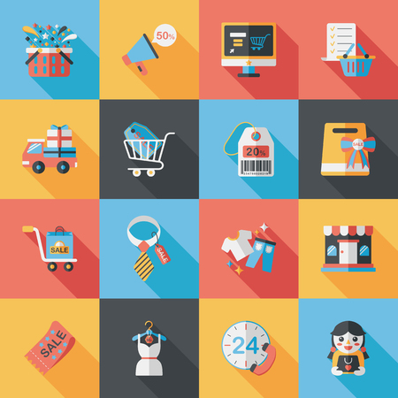 supermarket services: Shopping and online shop icons set