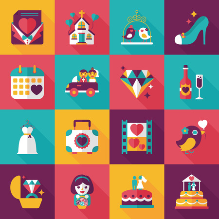 reflection of life: Wedding and marriage icons set