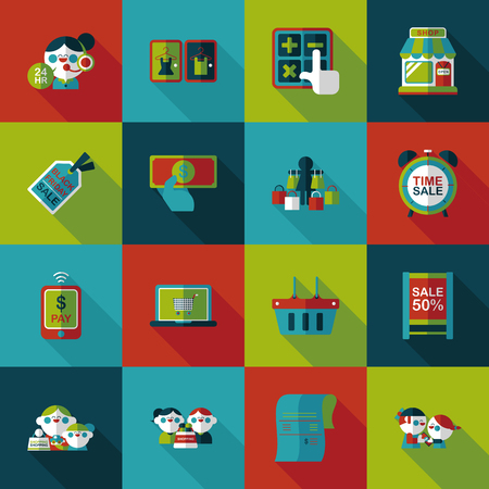 cashpoint: Shopping and online shop icons set